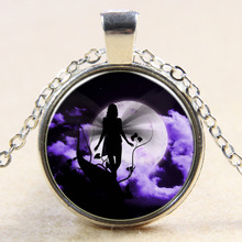Fairy Pendant Art Nouveau Fairy Necklace Vintage Fashion Bronze Fairies glass Cabochon Necklace