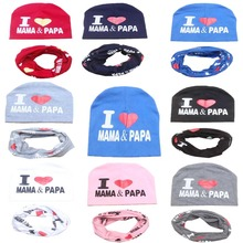 Baby Hat Set I Love Papa Mama Print Cotton Cap Baby Cotton Hats Newborn Hat Children Scarf Collar Boys Beanie Kids Cap for Girls