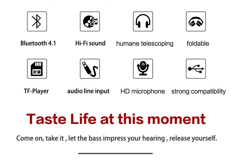 Zealot B19 Wireless Headphones LCD Display Screen HiFi Bass Stereo Earphone Bluetooth Headset with Mic + FM Radio + TF Card Slot 4