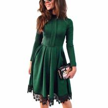 Buy New Fashion Dress 2017 Women Sexy Long Sleeve Slim Elegant Dresses Lace Patchwork Green Party Dress Woman Clothing LJ7198X for $11.99 in AliExpress store