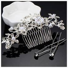 Best Sale Rhinestones Hair Comb Crystal Wedding Comb Pearls Bridal Comb and U Hair Pins Hair Clips Set Wedding Decoration for(China)