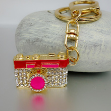 Adojewello Jewelry Purse Charms Rhinestone Crystal Lovely Camera Keychain Keyring For Car Handbag Chram Key Holder Wholesale(China)