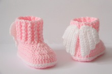 Crochet baby booties, shoes, boots,wings, angel, white, pink, Baptism, Christening photo prop,baby shower gift size: 9cm,11cm