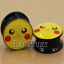 1 pair Pikachu ear plug gauges tunnel acrylic screw flesh body piercing jewelry PAP0575 - zc_sales store