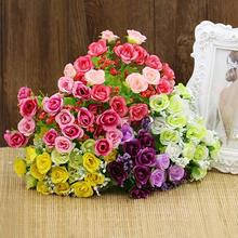 2015 Fashion New 1 Bouquet 21 Head Artifical Fake Rose Weeding Party Home Decor Silk Flower 63IC Christmas Gift 6LUW(China)