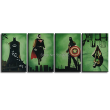 Hand Painted Modern Abstract Decoration Oil Painting Canvas 4 Panel Multi-color Arts Marvel Comics America Heroes Movie Star(China)