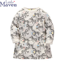 Little Maven Cartoon horse Long Sleeve Kids Dresses For Girls Spring Fall Good Quality Girls Clothes Children Dresses 1-6 Years