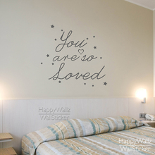 You're So Loved Quote Wall Sticker Baby Nursery Quotes Wall Decal DIY Removable Stars Quote Lettering Decors Kids Room 593Q(China)