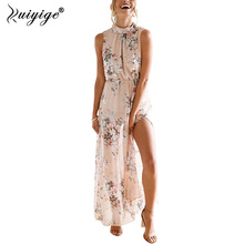 Buy Ruiyige Women Floral Print Halter Chiffon Long Dress Sexy Backless Boho Party Summer Dresses Maxi Split Beach 2019 Vestidos