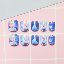 For Kids Children New 24 pieces Frozen 3D Fashion Cute Style Art Short Fake False Sticker Nail Tips Free Glue Gel [N710]