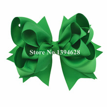 $1/1PCS 5 inches 3 Layers Solid Green Hair Bows With 6cm Hair Clips Boutique Ribbon Bows For Girls Hair Accessories(China)