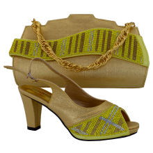 MM1017 Yellow+Gold matching bag and shoes Italian shoes and bags to match women matching shoes and bags for african partys
