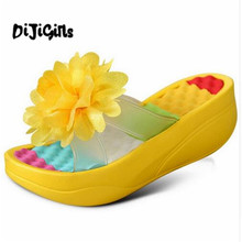 2018 Hot summer Women's Flip-Flop Sandals Platform flip flops slippers sandals swing wedges women hole shoes plus size(China)
