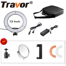 "Travor RL-12 12"" 180 LED Camera Ring Light Video/Photo/phone Panel Lamp CRI 90+ Color 5500K Dimmable Studio Photography Lighting"