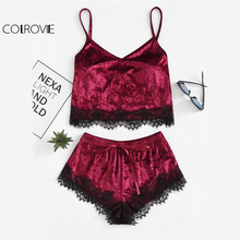 COLROVIE Burgundy Women Velvet Sexy Lace Nightwear(China)