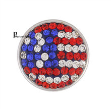 10pcs/lot Hot Sale 18mm Snap Button Charm rhinestone Snaps Jewelry With Copper Bottom Fit DIY Bracelets For Women KB2409-AA*10