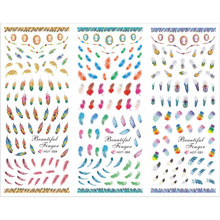 3 PACKS / LOT FEATHER PEACOCK BIRD NAIL TATTOOS STICKER WATER DECAL NAIL ART HOT259-261(China)