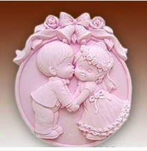 New Craft Art Silicone Soap mold Craft Molds DIY Handmade soap molds Wedding Kiss FM211(China)