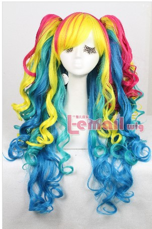 Free Shipping Hot Selling 75cm long women lolita rainbow wavy heat resistant synthetic cosplay wig<br><br>Aliexpress