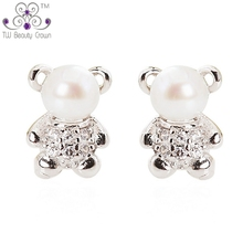 Real 925 Sterling Silver Cute Teddy Bear White Natural Fresh Water Pearls Stud Earrings Brincos For Women Girls Fashion Jewelry