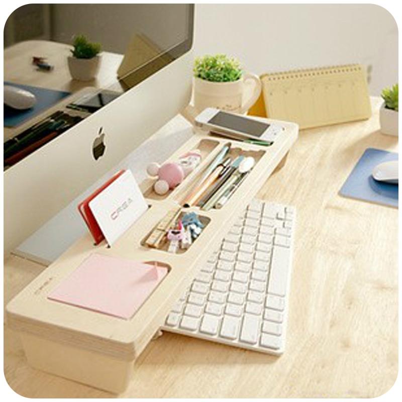 Fashion Wooden Desk Organizer Office Stationery Racks Personalized Desktop Pen Office Accessories Organizer Box<br>