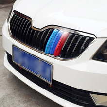 3 Pcs Car Styling New ABS Front Grille Trim Sport Strips sticker Covers Case 3D Stickers For Skoda Octavia A7 2015-2017