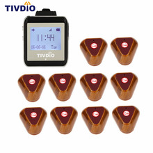 TIVDIO Wireless Restaurant Coaster Pager Watch Calling Button Receiver Pager System For Hospital Waiter Nurse 433MHz F9404A