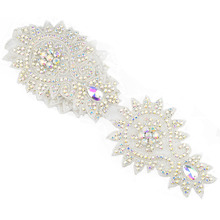 1 yard Rhinestone Applique trim for wedding party home and garden decoration hot-fix motif rhinestone silver AB color(China)