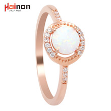 Beautiful Cute Simple Round Jewelry White Fire Opal Zircon Champagne Gold Color Ring For Women Wholesale(China)