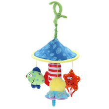 Soft Plush Toy Stroller Rattles Bell Toy Oceanside Fish Crib Bed Rotate Wind-up Twist Car Stuffed Educational Toy for Childrnen