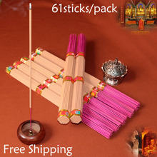 Free Shipping 61pcs/pack sandalwood incense sticks for Buddhist Temple religious Aromatic smell Mild resin smell Home joss stick(China)