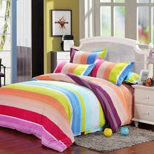 Rainbow Color Stripes Duvet Cover Set Single Double King Size Polyester Bedding Sets Bed Pillow Cases Quilt Bedsheet Bedclothes