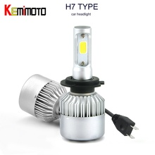 KEMiMOTO H7 H1 H4 HB2 9003 H8 H9 H11 LED Bulb Xenon COB Light Headlights Lamp Car Led Auto bulbs White 12V 24V 7200LM 72W 60W(China)