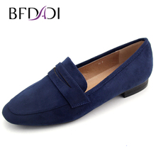 Buy BFDADI 2017 Spring Autumn Casual Shoes Women Blue Flock Shoes Woman Flat Round Toe shoes H-7 for $25.55 in AliExpress store