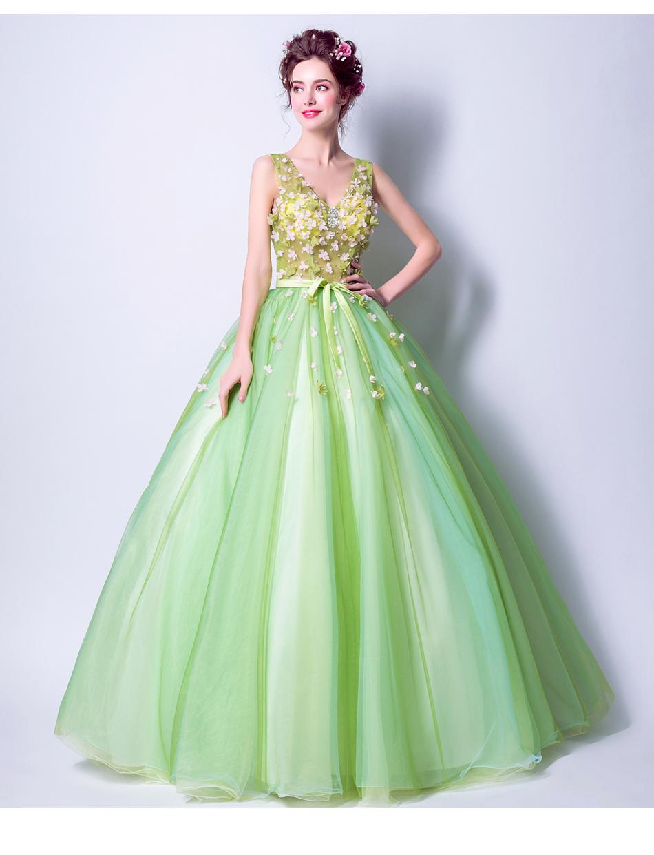 Angel Wedding Dress Marriage Bride Bridal Gown Vestido De Noiva 2017Soft powder, Qingjian Lvxian beauty, petals, green 9718 14