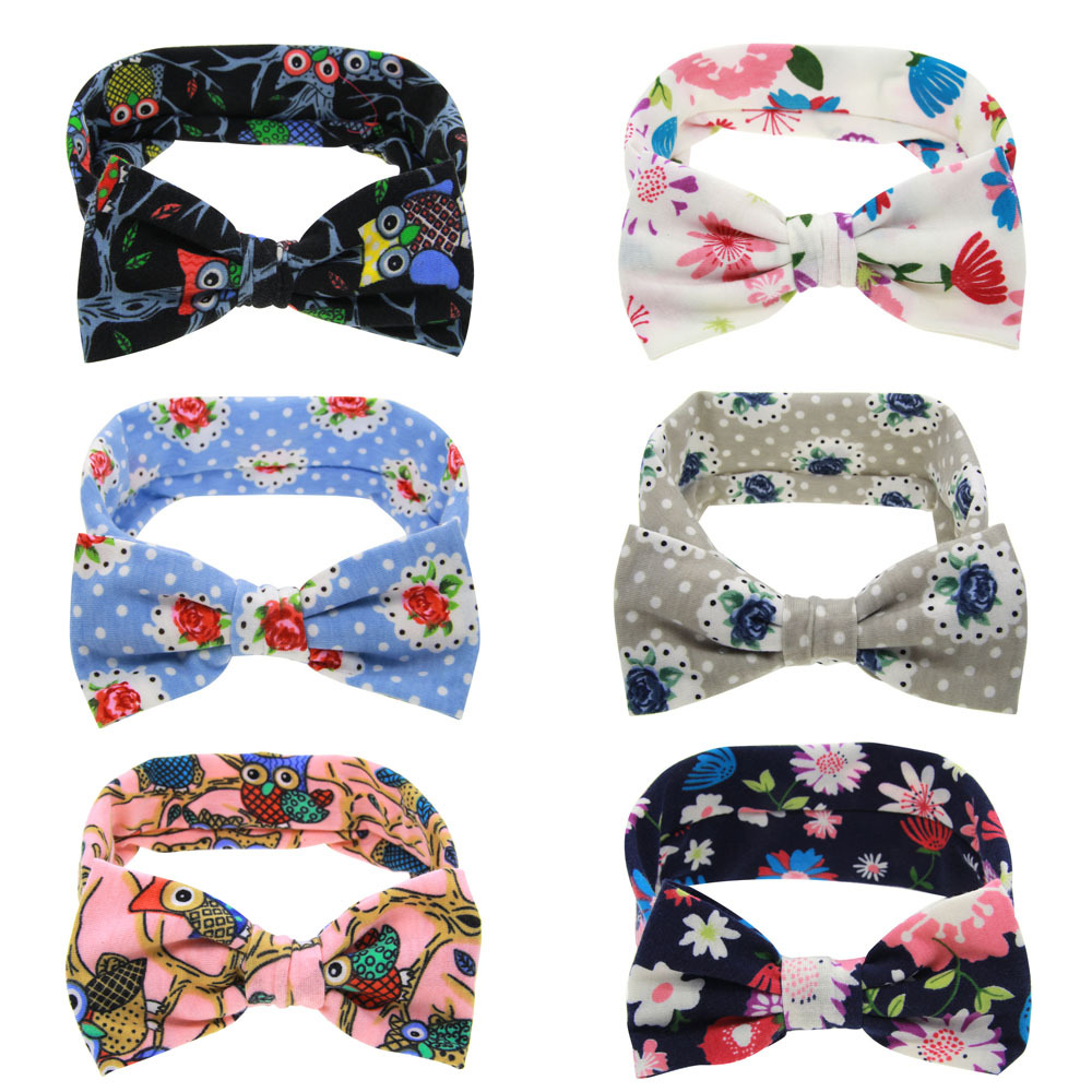 1 pieces Cute Newborn Baby Cool Girls Printing Knot Elasticity Headband BOWS Cotton Children Girls Baby bow Hair Accessories(China (Mainland))