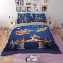 Free shipping Christmas gift Santa Claus reindeer Castle pattern bedding Quilt duvet Cover pillow case set twin full queen king