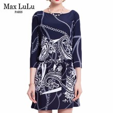 Max LuLu Brand 2017 Bodycon Autumn Print Blue Dress Women Office Work Sexy Dresses Casual Fashion Hot Sale Women's Clothing Free