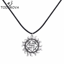Todorova Silver Slavic Pendant Women Necklace Valkyrie Symbol Viking Scandinavian Amulet Charm Black Rope Chain Necklace Collier(China)
