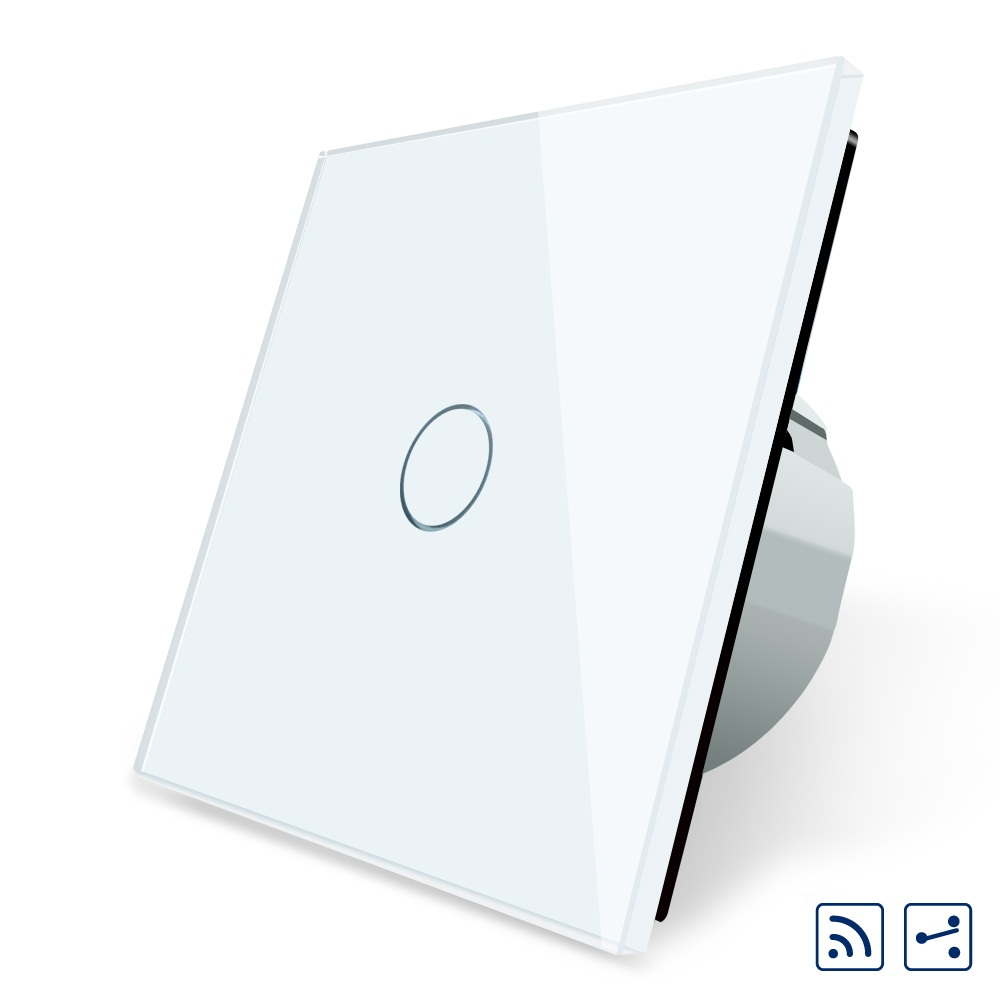 2017 Smart Home EU Standard Wireless Switch 1Gang 2 Way, Remote Switch, White Crystal Glass Panel, 220~250V + LED Indicator<br>