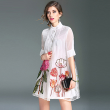 High Quality 2017 New Spring Embroidery Organza Dress Loose Short Sleeve Above Knee Cute Dress