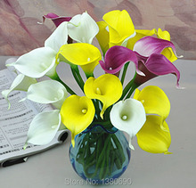 22pcs/lot AU Artificial Flowers Real Touch Mini Calla Lily Artificial Flowers for Home Decoration Wedding Bouquets (no vase)