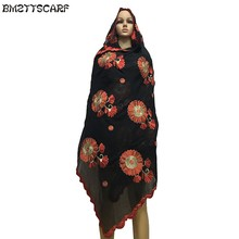 New Winter African Women Scrafs,muslim embroidery big cotton scarf for shawls wraps pashmina BM419(China)