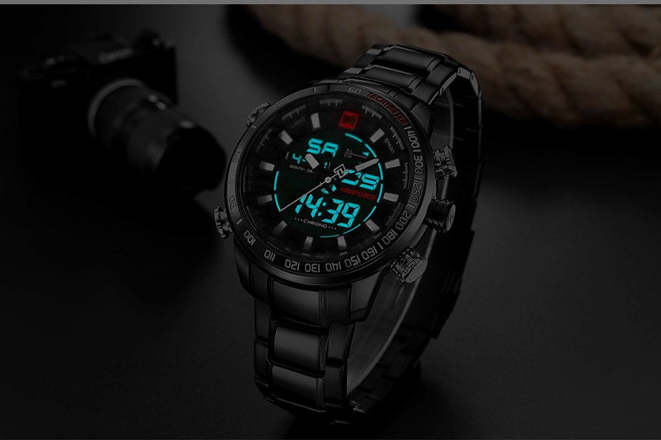 Top Brand Quartz Men Military Sport Watches Mens LED Analog Digital Watch Male Army Stainless Clock Relogio Masculino NAVIFORCE 15