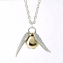 Na1043 New  Necklace 2015 Popular Drop Fine Jewelry Angel Wing Charm Golden Snitch Pendent Necklace Men Jewelry