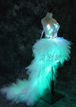 Free Shipping 7color LED lighting luminous dress show club stage dancer wear ballet dress wedding suit high quality