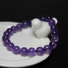 Wholesale Good Quality 8 mm Round shape Natural Amethysts Purple Quartz Stone Bracelet Women Beaded Stretch Bracelet 19 cm(China)