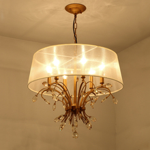 American style K9 crystal chandelier gold bedroom chandelier with lampshade lighting fixtures living room suspension 110V/220V(China)