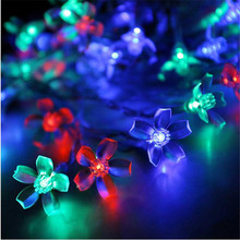 Fairy Peach Flower  Light 4M 20Led Lights Christmas Cherry Flowers  Led String  Xmas Party Wedding Garden Garland  Decorations
