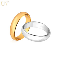 U7 Silver/Gold Color Rings High Quality Women/Men Jewelry Wholesale Classic 3mm Wedding Band Ring R302